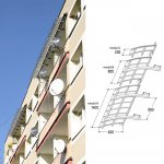 Icopal - roof above balconies. Awning Fastlock 60 Loggia
